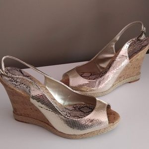 Gold Faux Snakeskin Wedge Sandals